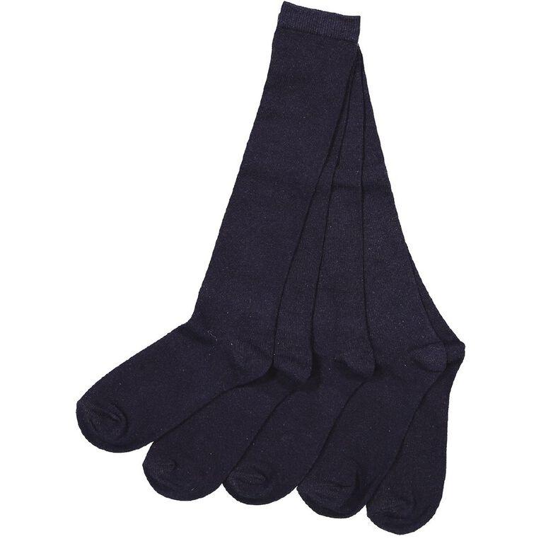 H&H Girls' School Knee High Socks 5 Pack, Navy, hi-res