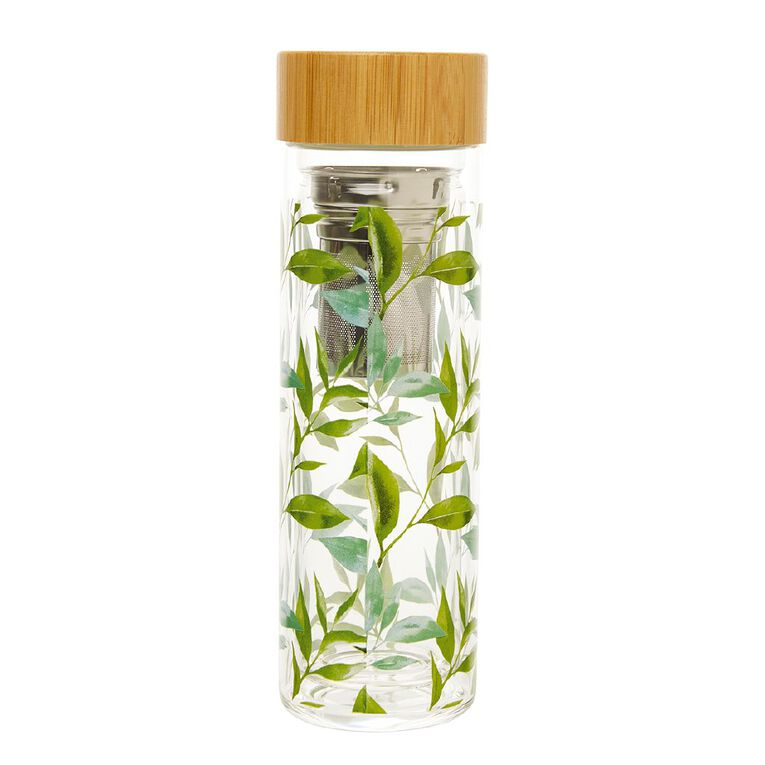 Living & Co Printed Glass Flask Tea Leaf, , hi-res