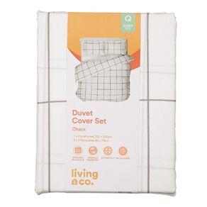 Living & Co Duvet Cover Set Check White/Black