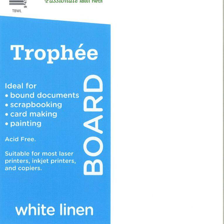 Trophee 240gsm 12 Pack Linen White A4, , hi-res