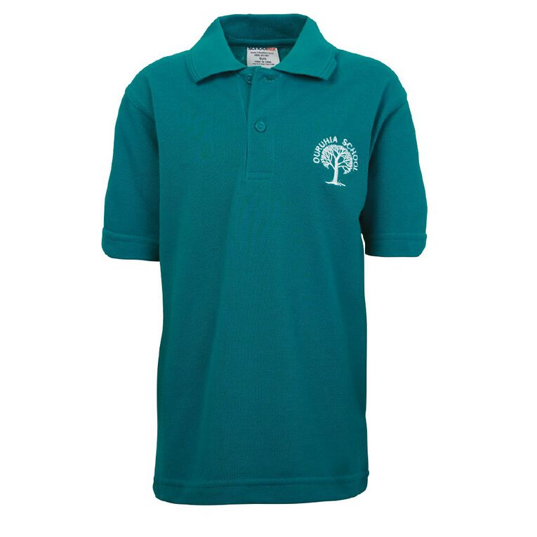 Schooltex Ouruhia Model Short Sleeve Polo with Embroidery, Jade, hi-res