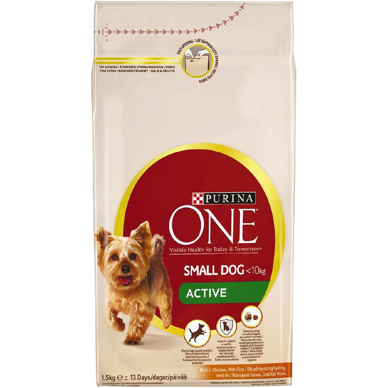 Purina ONE Dog Mini Active Chicken & Rice 1.5kg, , hi-res