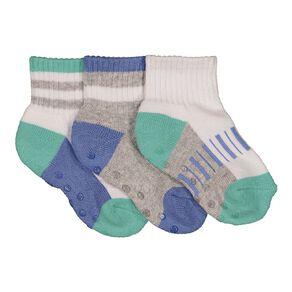H&H Infant Boys' Quarter Crew Rib Socks 3 Pack