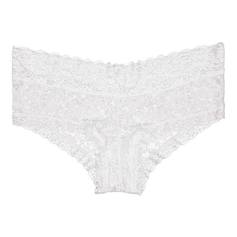 H&H Women's Poppy Lace Boyleg Briefs, White, hi-res