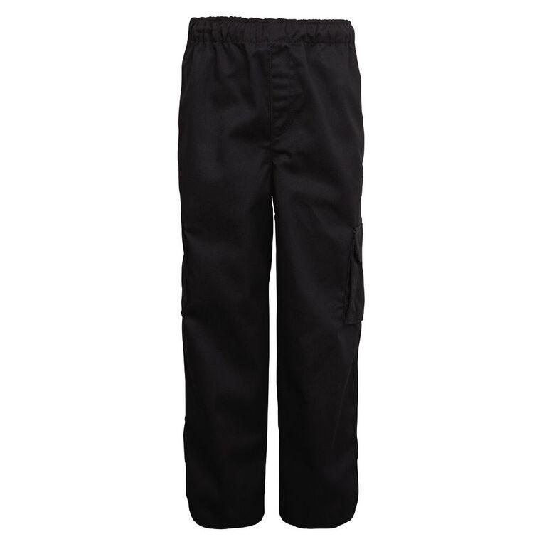 Schooltex Drill Cargo Pocket Pants, Black, hi-res