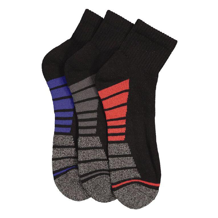 Underworks Men's Quarter Crew Sport Socks 3 Pack, Black, hi-res