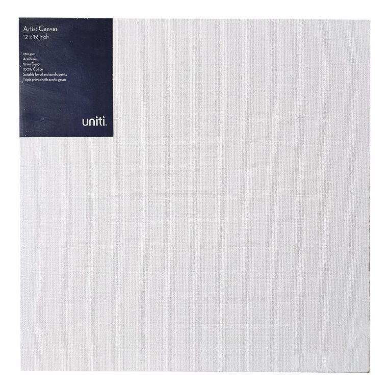 Uniti Blank Canvas 280gsm (12in x 12in) 30cm x 30cm, , hi-res