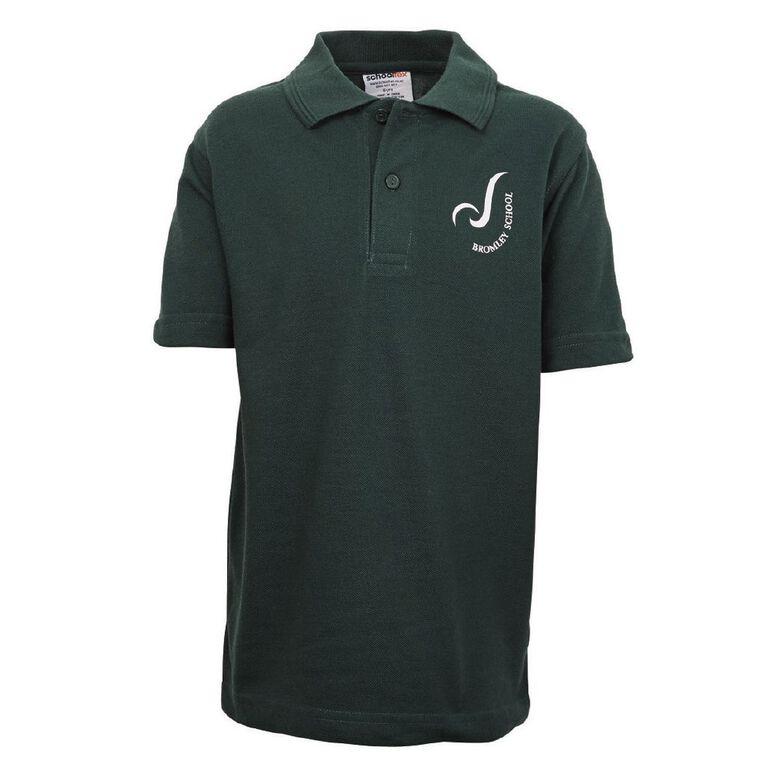 Schooltex Bromley Short Sleeve Polo with Screenprint, Bottle Green, hi-res