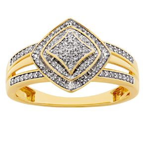 0.25 Carat Diamond 9ct Gold Halo Cushion Cluster Halo Ring