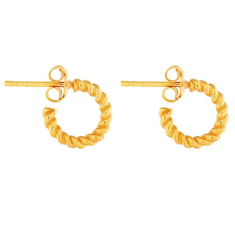 Sterling Silver Gold Plated Twisted Half Hoop Stud Earrings, , hi-res
