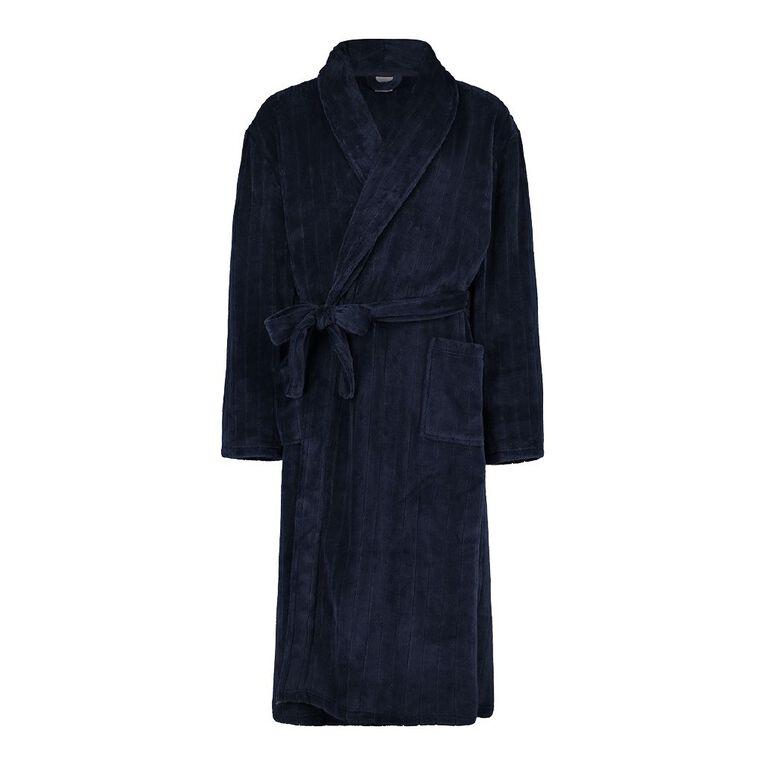 H&H Men's Fleece Robe, Navy, hi-res