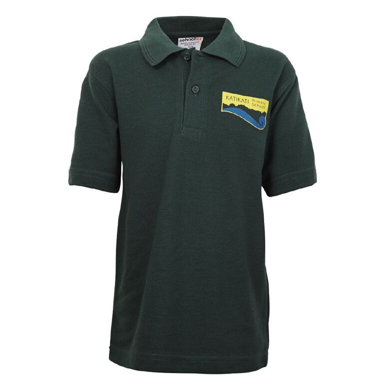 Schooltex Katikati Short Sleeve Polo with Transfer, Bottle Green, hi-res image number null