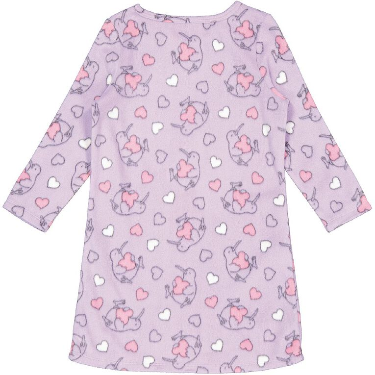 H&H Girls' Long Sleeve Nighty, Lilac, hi-res