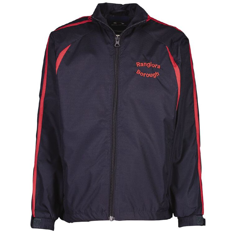 Schooltex Rangiora Borough Track Jacket with Embroidery, Navy/Red, hi-res