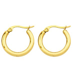 Stainless Steel Yellow Gold Plated Hoop Earrings