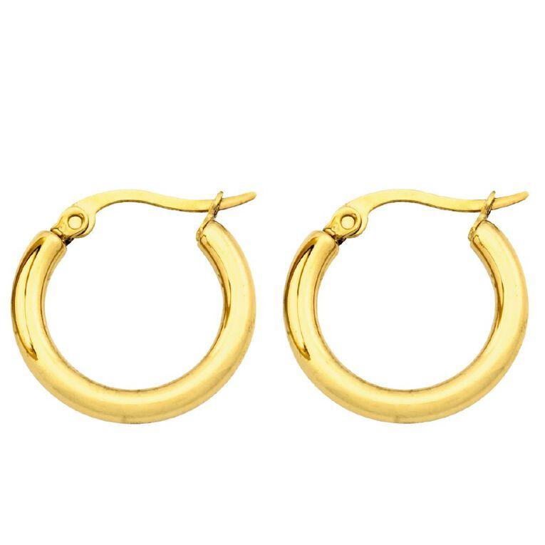 Stainless Steel Yellow Gold Plated Hoop Earrings, , hi-res
