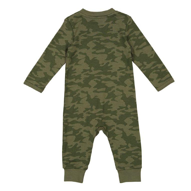 Young Original Baby Zip Footless All In One, Green Dark, hi-res