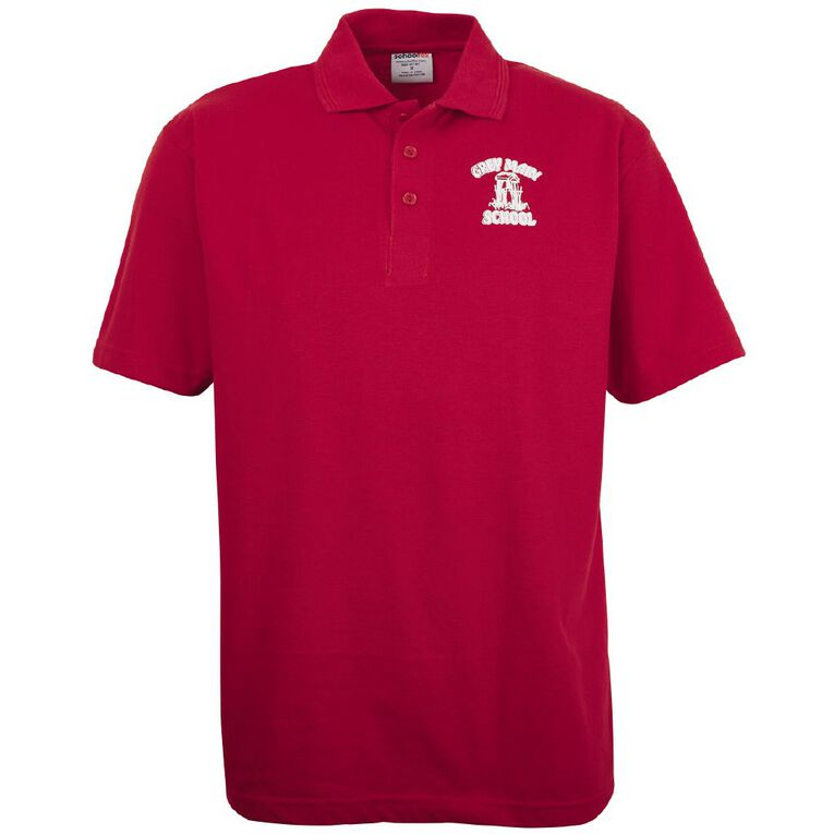 Schooltex Greymouth Main School Short Sleeve Polo with Transfer, Red, hi-res