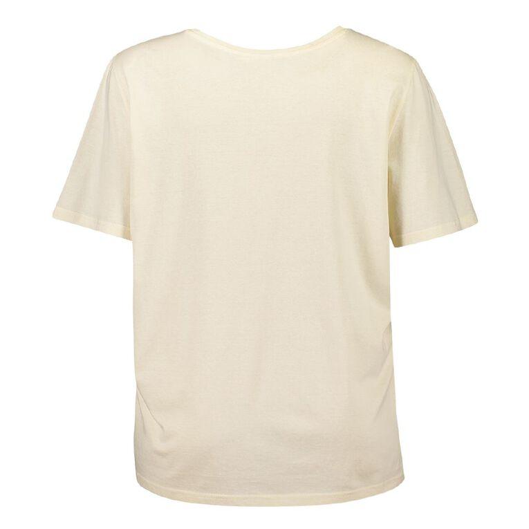 H&H Cosy Curvy Women's Short Sleeve Knit Sleep Tee, Cream, hi-res
