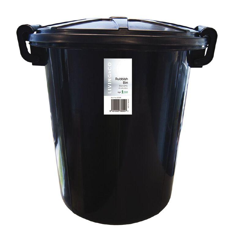 Living & Co Rubbish Bin Black 45L, , hi-res