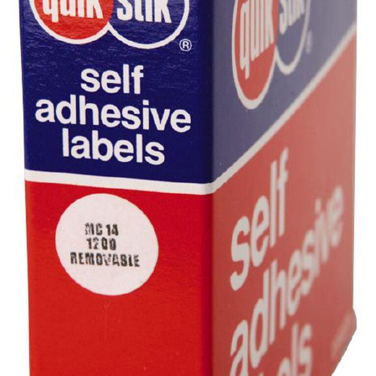 Quik Stik Labels Dots Mc14 1200 Pack White, , hi-res
