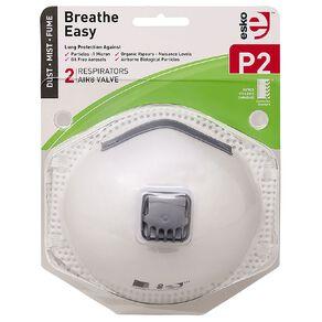 Esko Breathe Easy P2 Valved Disposable Respiratory Mask 2 Pack White