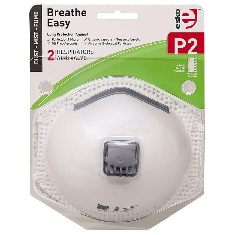 Esko Breathe Easy P2 Valved Disposable Respiratory Mask 2 Pack White, , hi-res