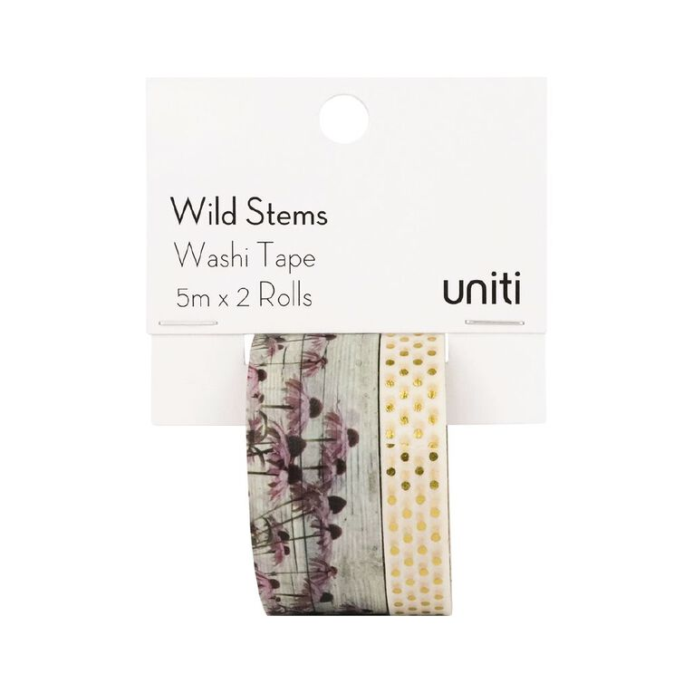 Uniti Wild Stems Washi Tape 2 Pack Design 2, , hi-res