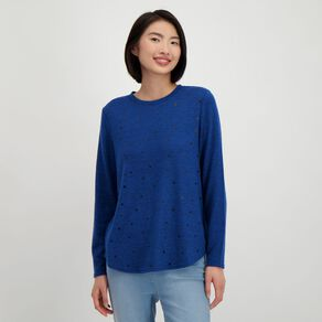 H&H Women's Brushed Knit Print Top