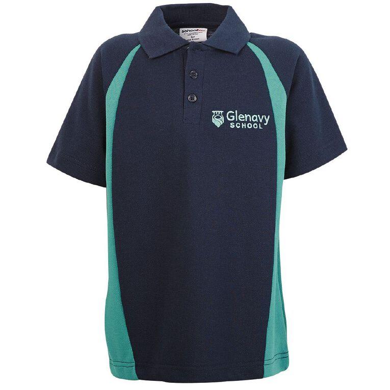 Schooltex Glenavy Short Sleeve Polo with Embroidery, Navy Jade, hi-res
