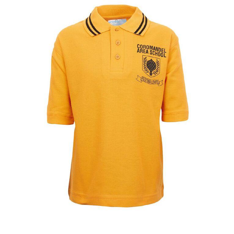 Schooltex Coromandel Area School Junior 1-6 Year Short Sleeve Polo, Gold/Black, hi-res