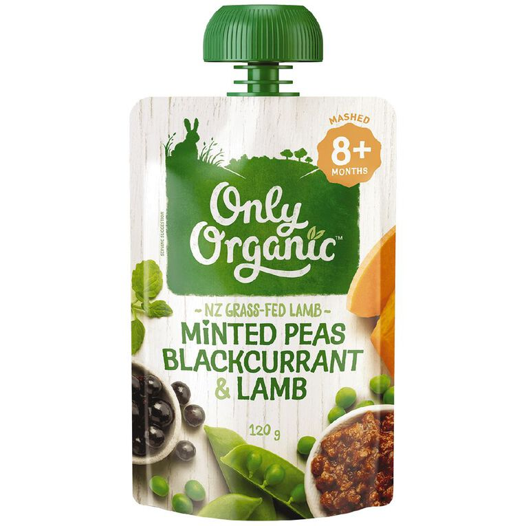 Only Organic Stage 3 Peas Blackcurrant & Lamb 120g, , hi-res