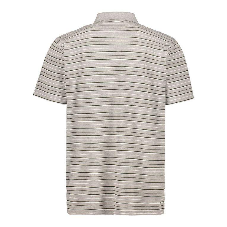 H&H Short Sleeve Striped Polo, Grey, hi-res