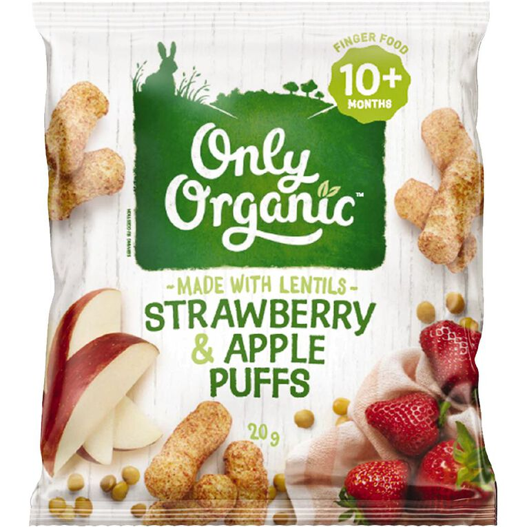 Only Organic Strawberry & Apple Puffs 20g, , hi-res