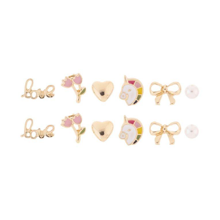 Kids' Love Bow Unicorn 6 Pair Earrings, , hi-res