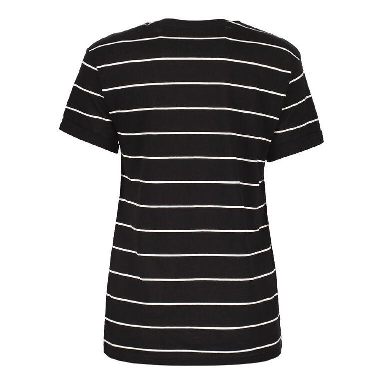 H&H Women's Oversized Roll Sleeve Tee, Black/White, hi-res