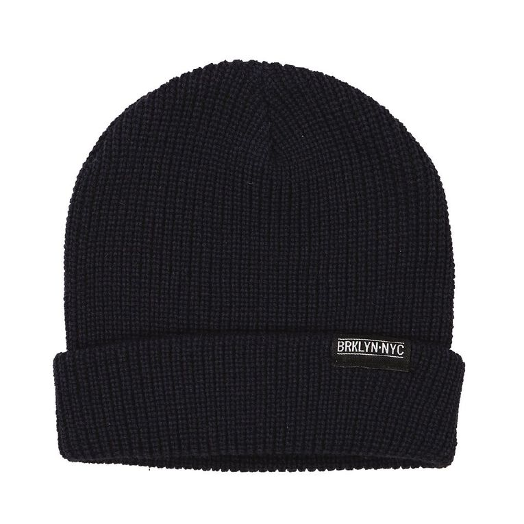H&H Knit Roll Up Beanie, Navy, hi-res