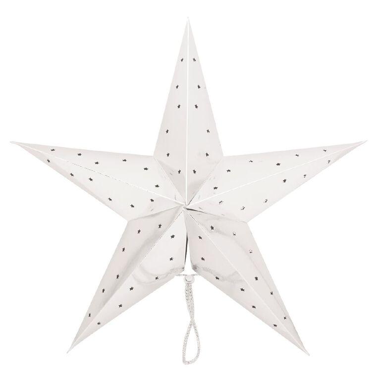 Party Inc Star Lantern Metallic Silver 50cm, , hi-res