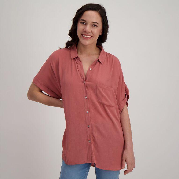H&H Women's Short Sleeve Shirt, Brown Mid, hi-res