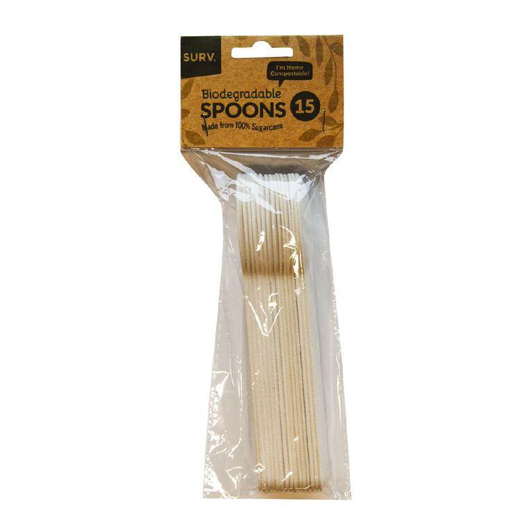 SURV. Sugarcane Bio Spoon White 15 Pack, , hi-res