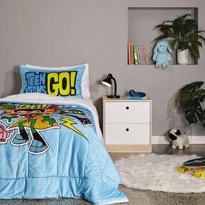 Teen Titans Comforter Set Plush Sherpa Reverse King Single