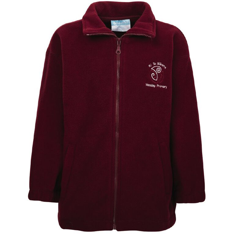 Schooltex Wesley Primary Polar Fleece Jacket with Embroidery, Burgundy, hi-res