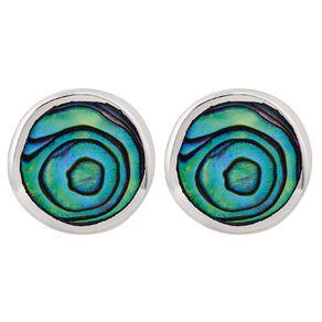 Sterling Silver Paua Round Stud Earrings