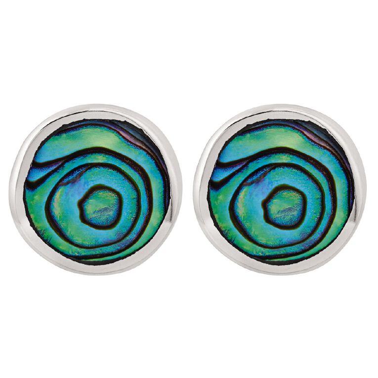 Sterling Silver Paua Round Stud Earrings, , hi-res