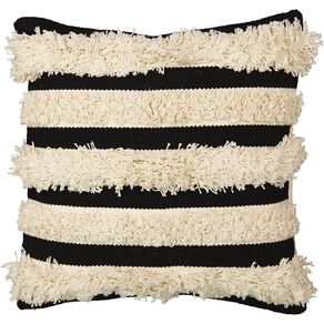 Living & Co Cushion Luxe Tufted Stripe Black 45cm x 45cm