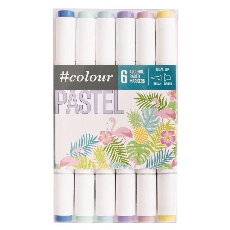 #colour Dual Ended Art Markers Pastels 6 Pack, , hi-res