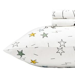 Living & Co Kids Sheet Set Cotton Flannel Rocket White