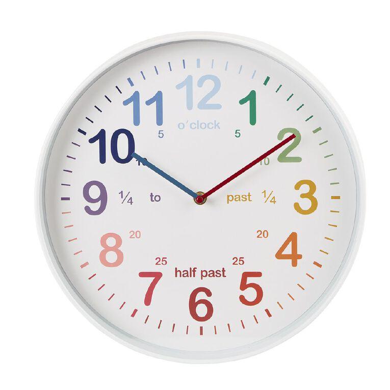 Living & Co Tell The Time Kids Clock Multi-Coloured 35cm, , hi-res