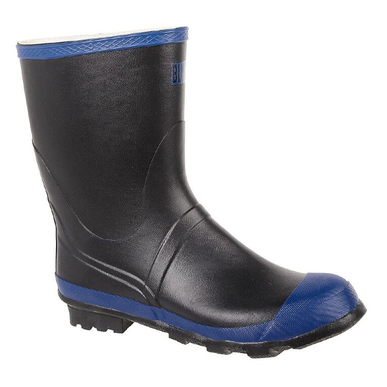 Blue Collar 12inch Rubber Gumboots, Black, hi-res