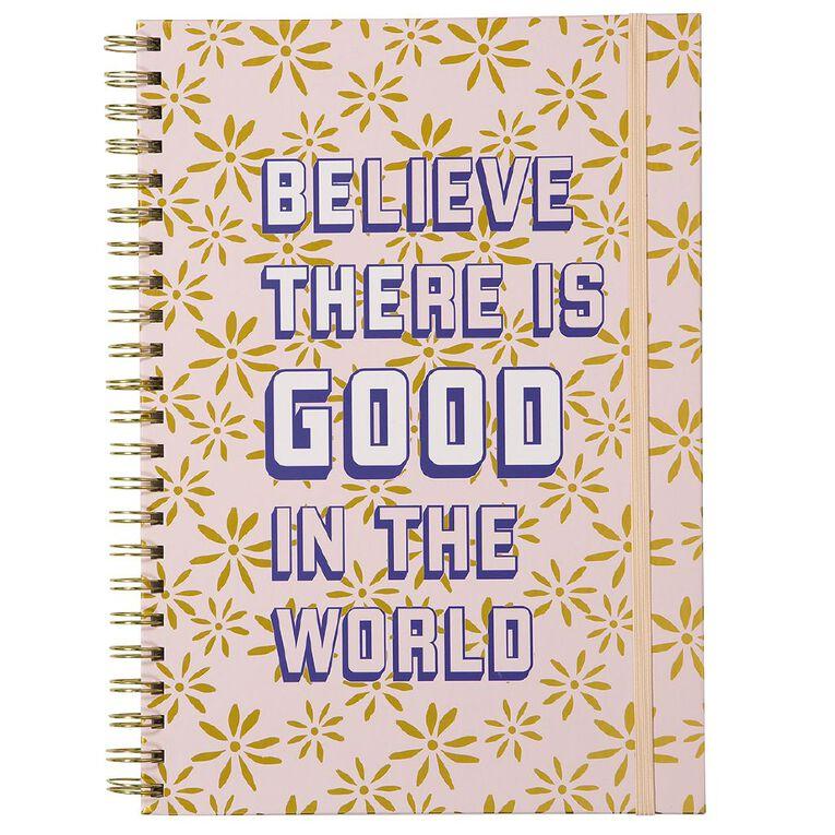 Uniti Fun & Funky Q4 Hardcover Spiral Notebook Believe Pink A4, , hi-res
